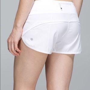 Lululemon White Speed Shorts